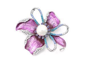 Glamorousky High Quality Flower Brooch with Silver and Blue Swarovski Element Crystals and White Fashion Pearl