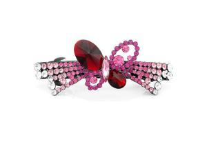 Glamorousky High Quality Charming Butterfly Barrette with Pink Red and Silver Swarovski Element Crystals