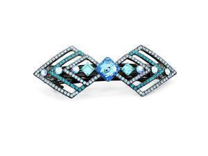 Glamorousky High Quality Charming Barrette with Blue Swarovski Element Crystal