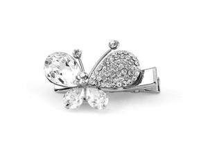 Glamorousky High Quality Charming Butterfly Barrette with Silver Swarovski Element Crystal