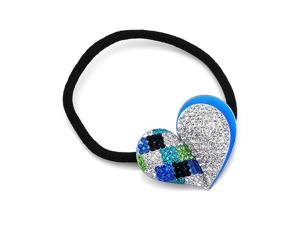 Glamorousky High Quality Charming Blue Heart Hair Tie with Multi-color Swarovski Element Crystals