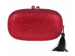 Chicastic Red Rhinestone Crystal Oval Evening Clutch With Tassel