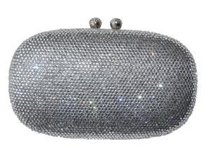 Chicastic Silver Rhinestone Crystal Oval Evening Clutch With Tassel