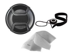 Sony Cyber-shot DSC-HX300 Lens Cap Center Pinch (55mm) + Lens Cap Holder + Nw Direct Microfiber Cleaning Cloth.