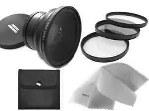 Canon VIXIA HF G20 0.43X High Definition Super Wide Angle Lens w/ Macro + 58mm 3 Piece Filter Kit + Nw Direct Micro Fiber Cleaning Cloth