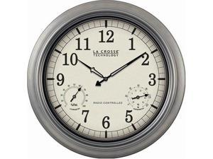 La Crosse Technology LCRWT3181PM La Crosse Technology WT-3181P  18 Outdoor Atomic Wall Clock with Temperature/Humidity