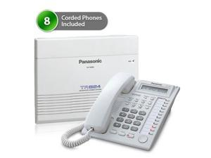 Panasonic BTS KX-TA824-7730W Pack of 8 Advanced Hybrid Telephone System W/ Background Music Capability And 1-Line Backlit LCD Display