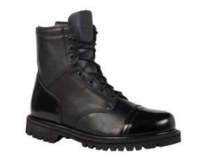 "Rocky Men's Paraboot 7"" Black Side Zip Leather Boots  8 M"