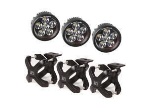 Rugged Ridge X-Clamp And Round Led Light Kit, Large, Black, 3 Pieces 15210.06