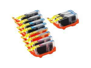 10-PACK Compatible Canon PGI-225/CLI-226 Ink Cartridges w/Chip : 4 Black, 2 Cyan, 2 Magenta, 2 Yellow