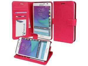 for Samsung Galaxy Note Edge (SM-N915) - Wallet Case Flip Cover with Stand, Credit Card ID Slots, Currency Pocket - Pink PU Leather