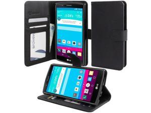 for LG G4 - Flip Wallet Phone Case Leather Cover w/ Stand, Card Slots - Black (LG H815)