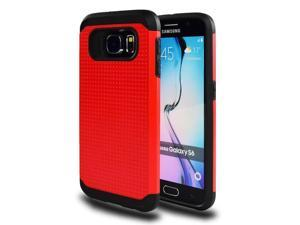 for Samsung Galaxy S6 (SM-G920) - EXCLUSIVE Hybrid Case 2-Layer Protective Hard Shell Cover - Red