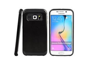 for Samsung Galaxy S6 Edge (SM-G925) - EXCLUSIVE Hybrid Case 2-Layer Protective Hard Shell Cover - Black