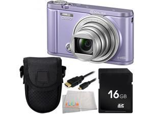 Casio Exilim Selfie Digital Camera EX-ZR3600 (Violet) 16GB Bundle 4PC Accessory Kit. Includes 16GB Memory Card + Micro HDMI Cable + Carrying Case + Microfiber Cleaning Cloth