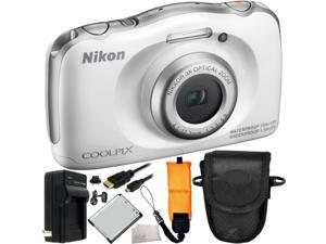 Nikon COOLPIX S33 Digital Camera (White) 8PC Accessory Kit. Includes Replacement EN-EL19 Battery + AC/DC Rapid Home & ...