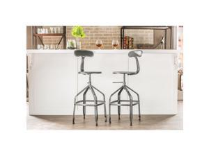 Baxton Studio Architect's Industrial Bar Stool with Backrest in Antique Black