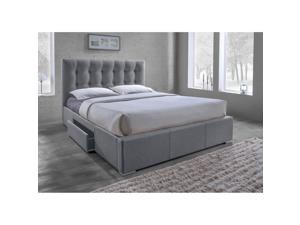 Baxton Studio Sarter Contemporary Grid-Tufted Grey Fabric Upholstered Storage King-Size Bed with 2-drawer