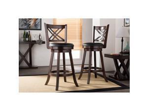 "Baxton Studio Timothy Espresso Brown 29"" Swivel Bar Stool with Upholstered Seat"