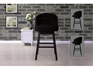 Baxton Studio Avril Modern and Contemporary Brown Faux Leather Tufted Swivel Barstool with Nail heads Trim