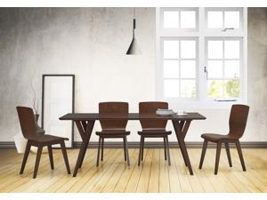 Baxton Studio Elsa Mid-century Modern Scandinavian Style Dark Walnut Bent Wood 5 Pieces Dining Set