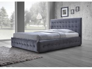 Baxton Studio Margaret Modern and Contemporary Grey Velvet Button-tufted King Platform Bed
