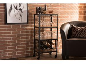 Baxton Studio Swanson Rustic Industrial Style Antique Black Textured Finish Metal Distressed Wood Mobile Kitchen Bar Wine Storage Shelf