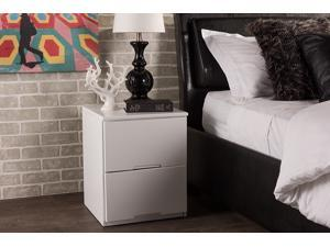 Baxton Studio Washington Modern and Contemporary White Wood 2-drawer Nightstand Bedside Table