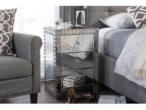 Baxton Studio Azura Modern and Contemporary Hollywood Regency Glamour Style Nightstand Bedside Table