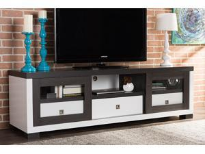 Baxton Studio Oxley 70-Inch Modern and Contemporary Two-tone White and Dark Brown Entertainment TV Cabinet with Two Sliding Door and Three Drawers