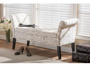 Baxton Studio Avignon Script-Patterned French Laundry Fabric Storage Ottoman Bench