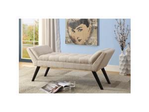 Baxton Studio Tamblin Mid-century Modern Retro Beige Linen Fabric Upholstered Grid-Tufting 50-Inch Bench