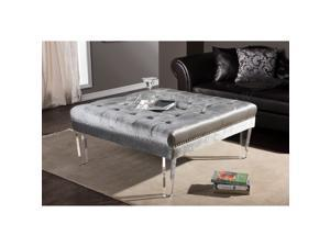 Baxton Studio Edna Modern and Contemporary Square Grey Microsuede Fabric Upholstered Lux Tufted Ottoman Bench with Acrylic Legs
