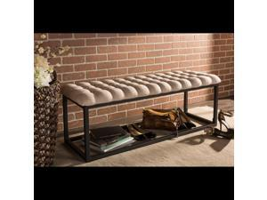 Baxton Studio Zephyr Vintage Industrial Style Antique textured Black Metal Legged Beige Microfiber Tufted Coffee Table Ottoman Bench