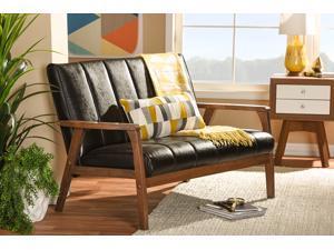 Baxton Studio Nikko Mid-century Modern Scandinavian Style Dark Brown Faux Leather Wooden 2-Seater Loveseat