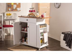 Baxton Studio Balmore Modern and Contemporary Two-tone White and Dark Brown Lacquered Wood Kitchen Cart Trolley Cabinet