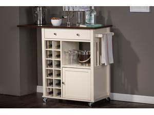 Baxton Studio Justin Modern and Contemporary Cream White Solid Wood Kitchen Cart with Dark Oak Drop Leaf Top and Built-in Wine Rack