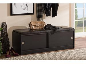 Baxton Studio Clevedon Modern and Contemporary Dark Brown Wood Entryway Storage Cushioned Bench Shoe Rack Cabinet Organizer