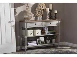 Baxton Studio Edouard French Provincial Style White Wash Distressed Two-tone 2-drawer Console Table
