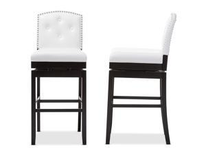 Set of 2 Ginaro Modern and Contemporary White Faux Leather Button-tufted Upholstered Swivel Bar Stools