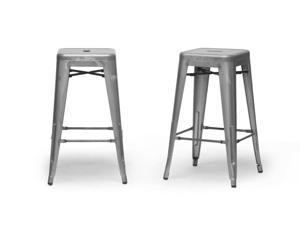Baxton Studio French Industrial Modern Counter Stool in Gunmetal (Set of 2)