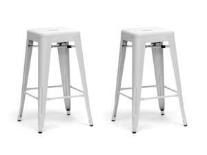Baxton Studio French Industrial Modern Counter Stool in White (Set of 2)
