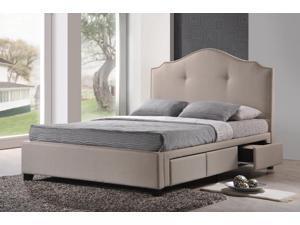 Baxton Studio Armeena Beige Linen Modern Storage Bed with Upholstered Headboard - Queen Size