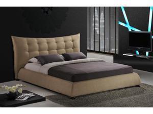 Baxton Studio Marguerite Dark Beige Linen Modern Platform Bed - Queen Size