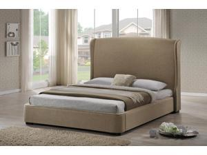Baxton Studio Sheila Tan Linen Modern Bed with Upholstered Headboard - King Size
