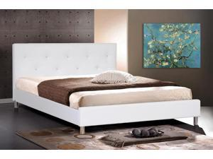 Barbara White Modern Bed with Crystal Button Tufting (King Size)