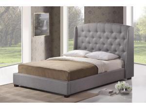 Ipswich Gray Linen Modern Platform Bed - King Size