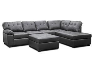 Baxton Studio Mario Brown Leather Modern Sectional Sofa with Ottoman