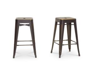 French Industrial Modern Counter Stool in Antique Copper