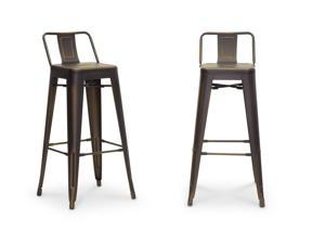 French Industrial Modern Bar Stool in Antique Copper
